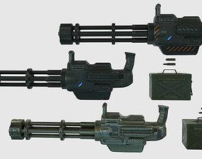 3D model Low Poly Minigun With PBR Materials