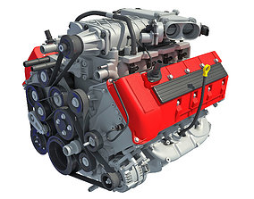 V8 Engine with Inner Parts 3D