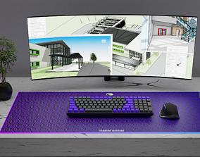 Minimal Desk With a Keychron K4V2 and a Mx Master 3D model