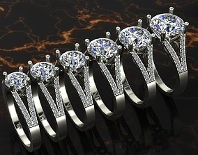 3D printable model huge solitaire ring series