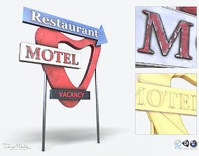 Motorway Motel Sign PBR 3D asset game-ready