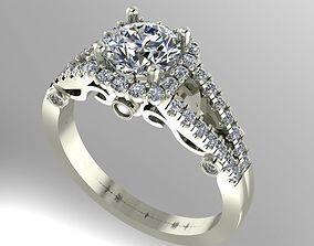 diamond Halo engagement ring 3D printable model