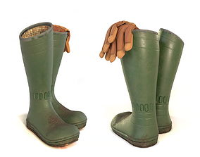 3D model Gardener Boots and Gloves