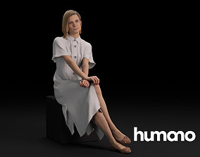 3D model Humano Casual Woman Sitting and looking 0405