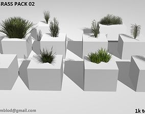 Low poly grass pack 3D asset game-ready