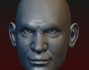 Head of Angry Man - male head 9 - bald head 3D print model