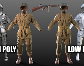 3D asset WW2 US Paratrooper and THOMPSON M1A1