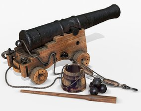 3D model Old Naval Cannon - Wood