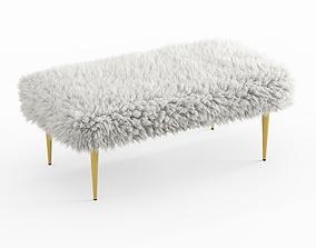 3D French Faux Fur Bench
