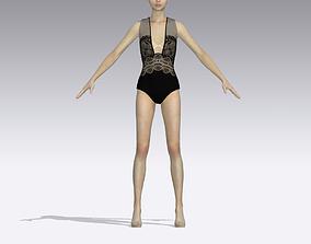 3D model BLACK LACED SWIMING SUIT