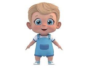 Cartoon Cute Baby Boy Rigged 3D model rigged