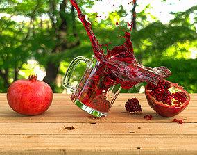 3D model Pomegranate juice splash