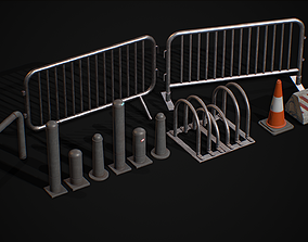 3D model Road Blocker Barrier Metal Barrier