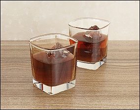 Whiskey glass with ice 3D model