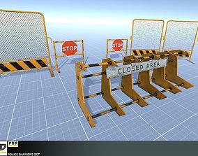 Police Barriers Set 3D model