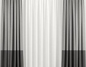3D Two-tone curtains with tulle