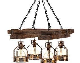 Rustic Wooden Chandelier 3D rigged