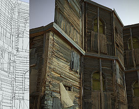 3D asset Decaying old modular wooden photorealistic wall