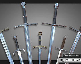 3D asset HQ Medieval weapons for games - Swords and