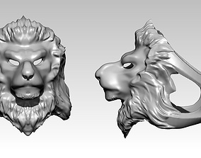 3D printable model wild angry tiger cat lion head face 1