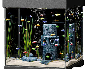 3D model Aquarium with Squidward house