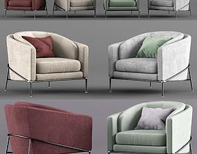 minotti fill noir armchairs set 3D
