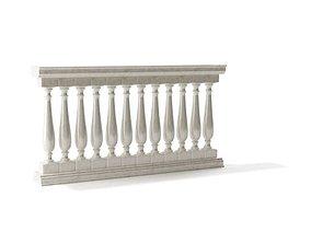 3D model White Classic Banister Railing