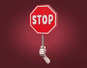 3D asset Cartoon Hand - Stop Sign