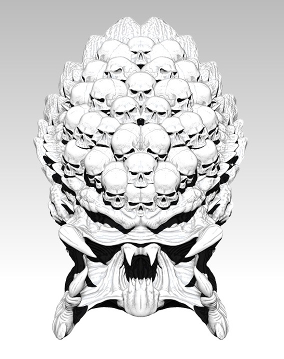 Predator monster head with skulls. High detailed. [ 3d printable ]