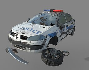 low-poly Wrecked destroyed police car 3D model