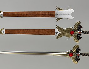 Sword and Sheath Medieval Maltese Knights 3D asset