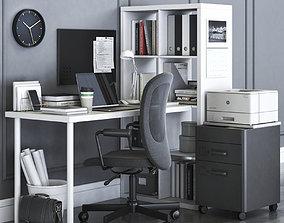 3D model Ikea KALLAX office workplace with FLINTAN chair