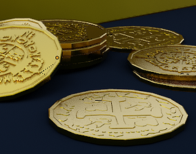 Gold Coin and Gold Bar 3D