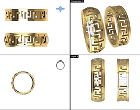 E greek - woman pattern ring 3D print model