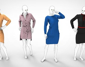 3D model animated Woman Mannequin Dresses