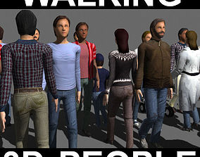 animated Walking 3D People - model