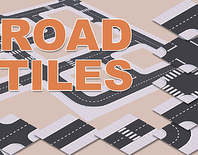 Low Poly Road Tiles 3D asset low-poly