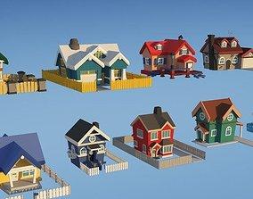 3D models - Unity Asset Store - City Houses Toon 3D asset
