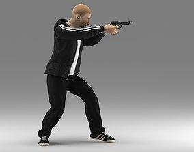 3D model sportman with gun ready to shoot
