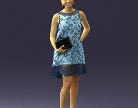 Girl in a blue sundress with a clutch 3D model