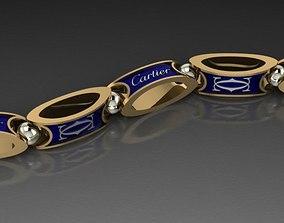 cartier men bracelet necklace 3D print model