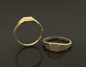 3D print model Dainty Thin Signet Ring Square Emerald Mix
