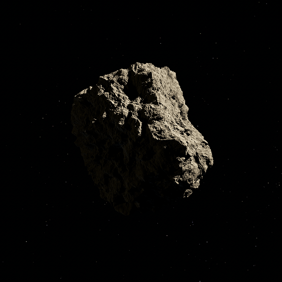 Low-poly asteroid 3D model