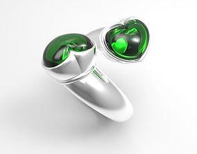 3D print model Ring 2 hearts