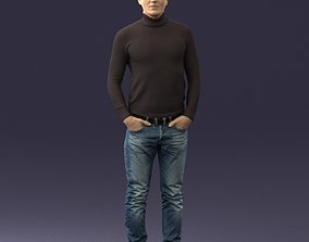 Man in a turtleneck and jeans 0363 3D