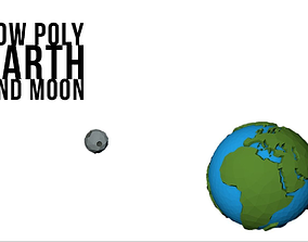 low poly earth and moon 3D asset
