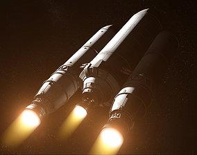 launch Rocket spaceship 3D