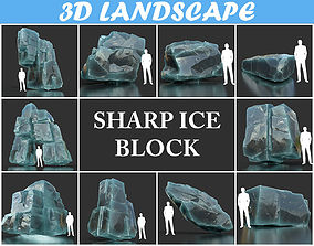 3D Low poly Ice Block Pack 190302