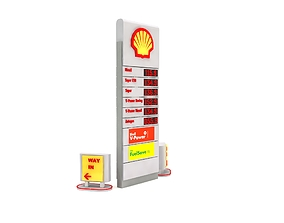 Petrol Station Totem Sign and Orientation Sign 3D model