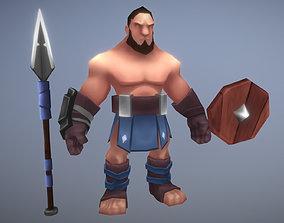 militiaman spear shild 3D asset